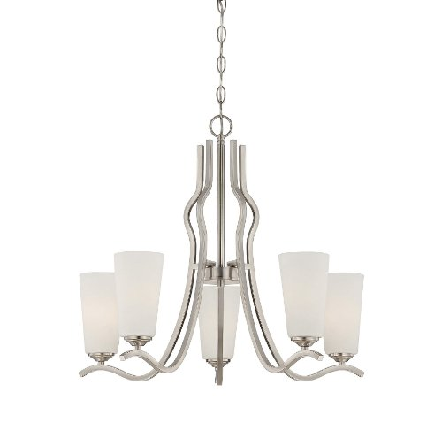 Satin Nickel Finish Chandeliers (Savoy House 1-6220-5-SN Charlton 5-Light Chandelier with White Etched Glass, Satin Nickel Finish)