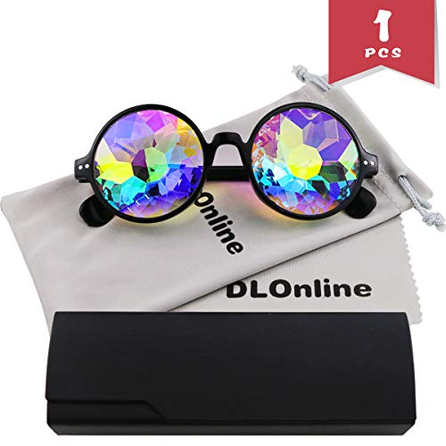 DLOnline Round Kaleidoscope Glasses,Rainbow Prism Sunglasses for Party Rave Festival Disco Dancing with Glasses Cloth,Glasses Bag and Box (Black Spectacle-Frame) ()