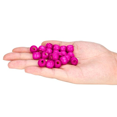 Amaping 100PCS 12MM Natural Unfinished Large Big Hole Charms Wood Beads Original Color Ball Spacer Loose Beads for DIY Jewelry Making (Hot Pink)