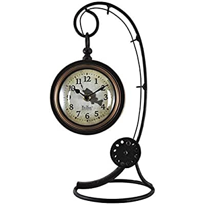 Firstime Manufactory Fishing Rod Tabletop Clock Black/Brown - The hanging clock is 5 inches in diameter. The fishing rod stand is 13 inches tall. This is a wonderful gift for Father's Day or a birthday. - clocks, bedroom-decor, bedroom - 41YJ beV2KL. SS400  -