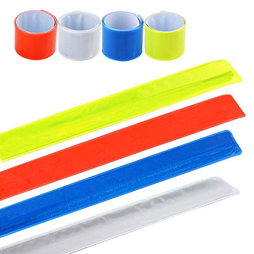 FULARR 20Pcs High-Visibility Reflective Bands, Snap Slap Reflective Arm Bands, Bracelet Bands, Wrist Bands or Ankle Bands. Night Cycling, Running, Walking, Jogging Reflective Fashion ()