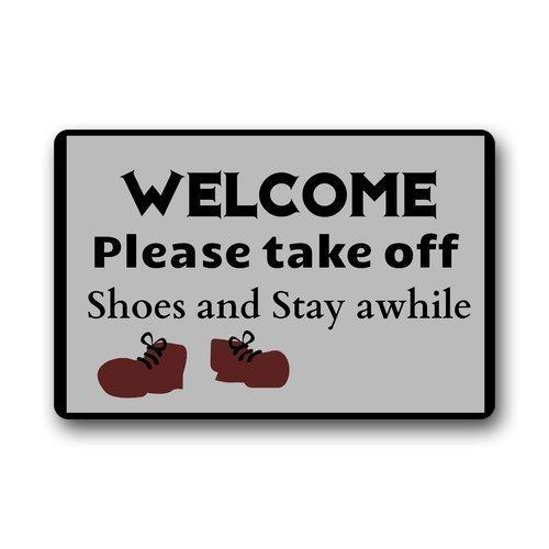 HOOAL Welcome Funny Frog with Glasses Drinking Funny Door Mat Rug Indoor/Outdoor Mats Welcome Doormat Decor Rug 23.6