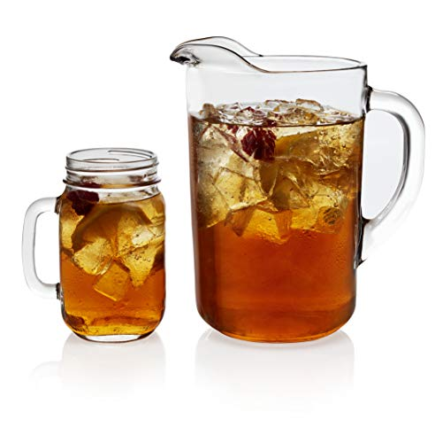 Libbey Country Folk Sweet Tea Entertaining Set with 6 Jar Glasses and Pitcher