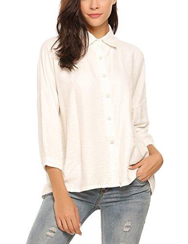 Meaneor Wmen's long sleeve button down collared blouse shirt White Medium (Sleeve Lapel Collar Buttons)