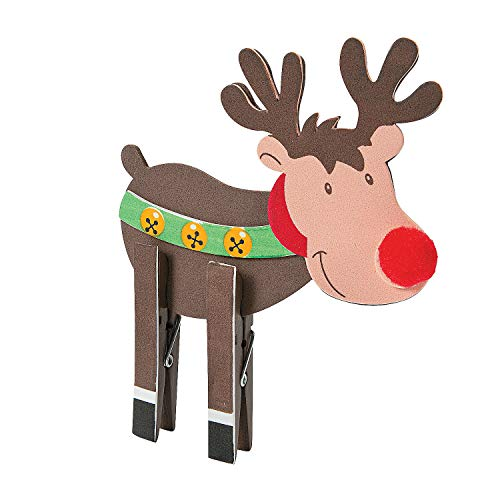 Fun Express - Reindeer Clothespin CK-12 for Christmas - Craft Kits - Home Decor Craft Kits - 3 - D Tabletop - Christmas - 12 Pieces -