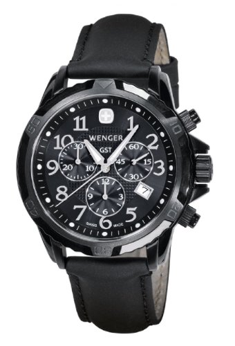 Wenger-Mens-78254-GST-Chrono-Black-PVD-Black-Leather-Watch