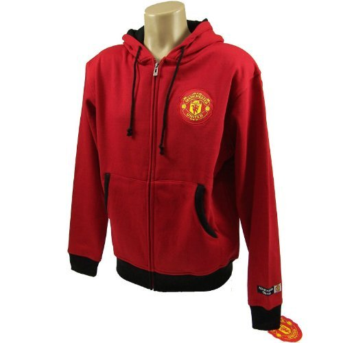 Manchester United FC Soccer Zip Front Fleece Jacket Sweatshirt Official License Soccer Hoodie Small 003 (Hoody Team Official Sweatshirt)