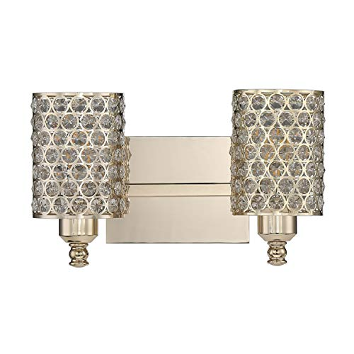 Seenming 2 Light Crystal Wall Sconce Lighting with Plating Champagne Finish,Modern and Concise Style Wall Light Crystal…