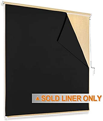 RYB HOME Outdoor Patio Shades   Blackout Curtain Liner Match With Roller  Blinds Inside Mount Self Adhesive Strip Cordless Waterproof Weather  Resistant ...