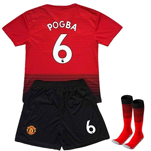 Pogba #6 Soccer Jersey 2018-2019 Manchester United Home Kids Soccer Jersey & Shorts & Socks Color Red/Black Size 13-14Years/28