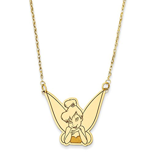 ICE CARATS 14kt Yellow Gold Disney 18 Inch Tinker Bell Chain Necklace Pendant Charm Licensed Fine Jewelry Ideal Gifts For Women Gift Set From Heart 14kt Gold Disney Jewelry