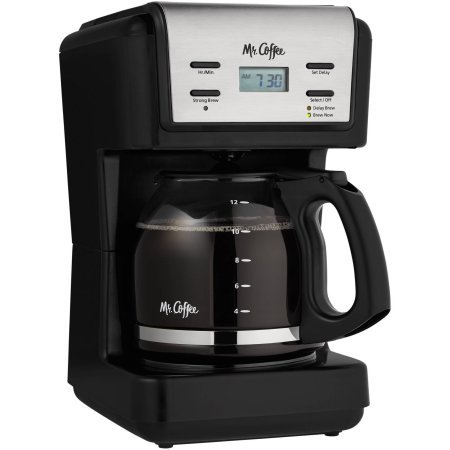 Mr. Coffee 12-Cup Black Programmable Coffee Maker with Brushed Stainless Accents