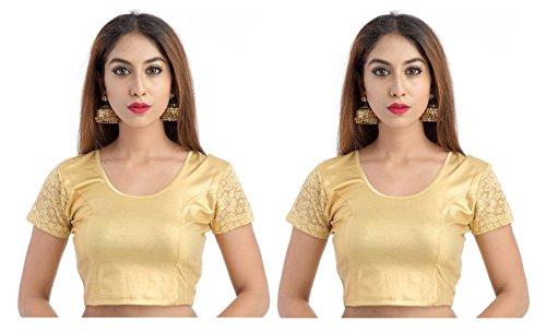 Fressia Fabrics Readymade free Size saree blouse for women party wear choli, Gold_gold