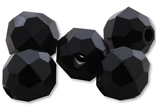 - River Guide Supply Faceted Acrylic Plastic Beads 100 Pack - Made in USA (Jet Black, 10mm)