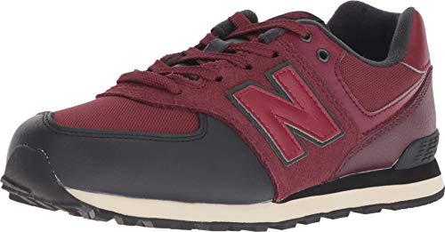 (New Balance Boys' Iconic 574 Sneaker Nubuck Burgundy/Black 4.5 M US Big Kid)