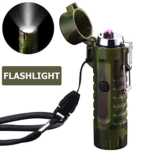 (Waterproof Lighter USB Plasma Lighter Rechargeable Electric Lighter Waterproof with Flashlight Flameless Lighter Windproof Arc Lighter for Outdoor Camping Hiking (Camouflage))