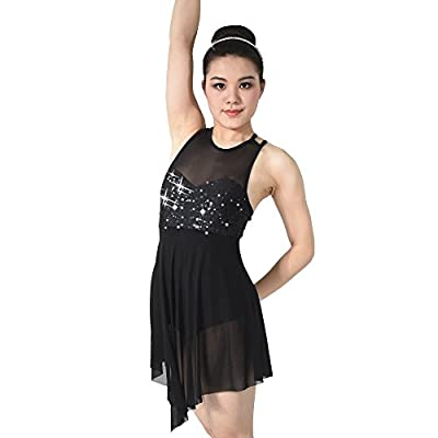 MiDee Lyrical Dance Costume Dress Illusion Sweetheart Sequins Trianglar Cut Skirt