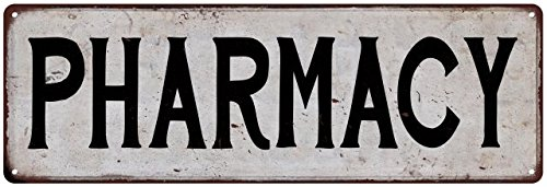 PHARMACY Vintage Look Rustic Metal Sign Chic City State Retro Old Advertising Man Cave Game Room M6185878 Old Pharmacy
