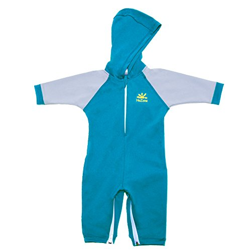 Nozone Kailua Sun Protective Hooded Baby Swimsuit in Royal/Titanium, 0-6 - Canada Swimming Wetsuits