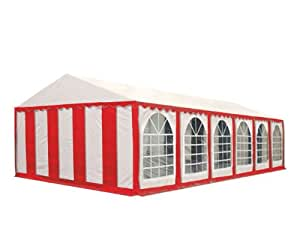 XXL 6x12 m party tent, marquee PVC fire resistant red-white