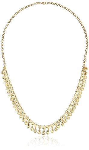 14k Yellow Gold Italian Multi-Drops Diamond Cut Cleopatra Style Necklace, 18""