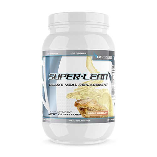 G6 Sports Nutrition Super-Lean Deluxe Meal Replacement (32g Protein, 7g Fiber, 25 Added Vitamins & Minerals) – 2.5lb Jar – Apple Cobbler -