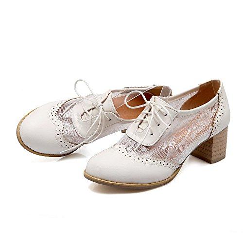 AgooLar Damen Mittler Absatz Rein Schnüren Weiches Material Rund Zehe Pumps Schuhe Weiß