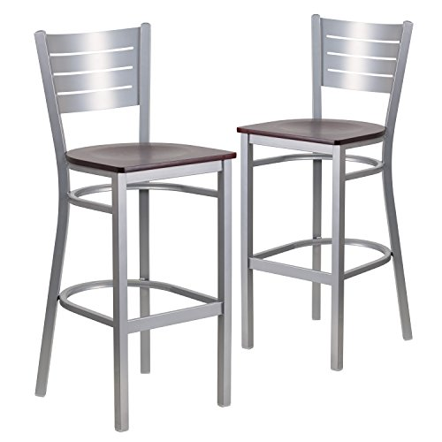 0.625' Seat - Flash Furniture 2 Pk. HERCULES Series Silver Slat Back Metal Restaurant Barstool - Mahogany Wood Seat
