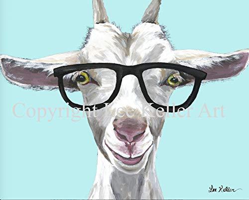 Goat art Print, Patsy' Goat lover gift, Goat decor. Goat Glasses ()