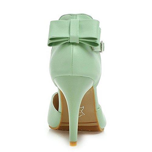 Schuhe Stiletto Grün Heel High Sandalen Fliege Damen LongFengMa Knöchelriemen q0A57O0B