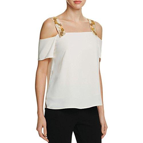 Cooper & Ella Womens Sequined Open Shoulder Blouse Ivory XL by Cooper & Ella