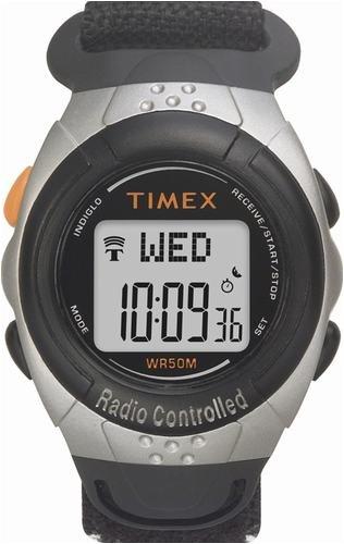 Timex 5E871 Men's International Atomic Clock Radio Controlled Digital Sport Watch with Nylon Fast-Wrap Strap