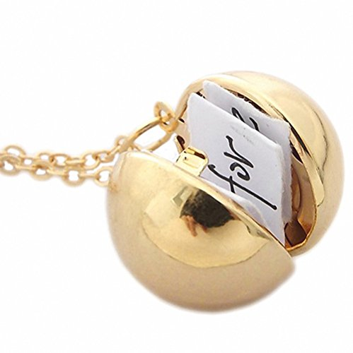 N.egret Gold-tone Secret Message Ball Locket Pendant Necklace Hidden Quote Necklace Funny Gift