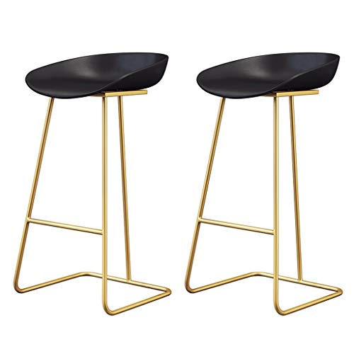 BARSTOOLRI Barstool, Metal Nordic Loft Style Strong Load Bearing Durable Non-Slip High Chair for Home Office Garden (2 Pieces) (Color : Gold, Size : 75cm)