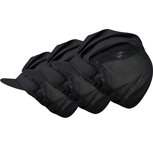 Adjustable Chef Cap 3 pcs Cooking Hat Food Service Hair Nets Mesh Brim Kitchen Net Reusable Restaurant Bouffant -