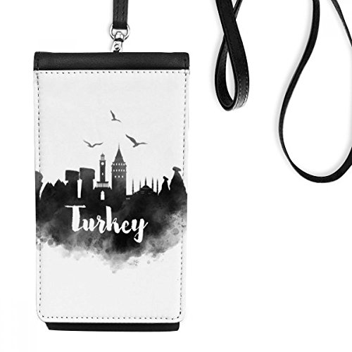 (Turkey Ink City Faux Leather Smartphone Hanging Purse Black Phone Wallet Gift)