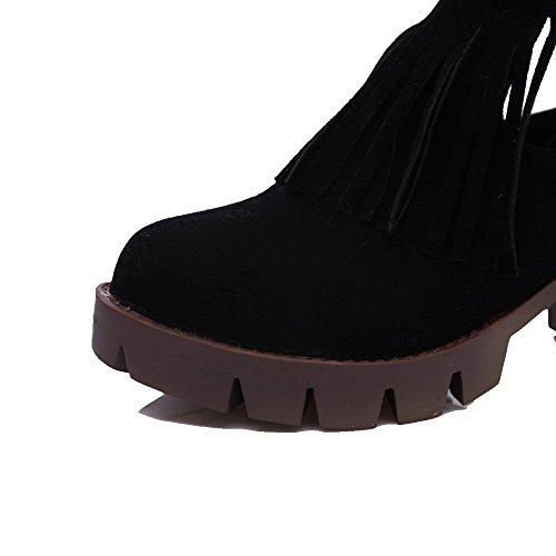 AllhqFashion Mujeres Sólido Tacón Medio Puntera Redonda Gamuza(Imitado) Hebilla Botas Negro