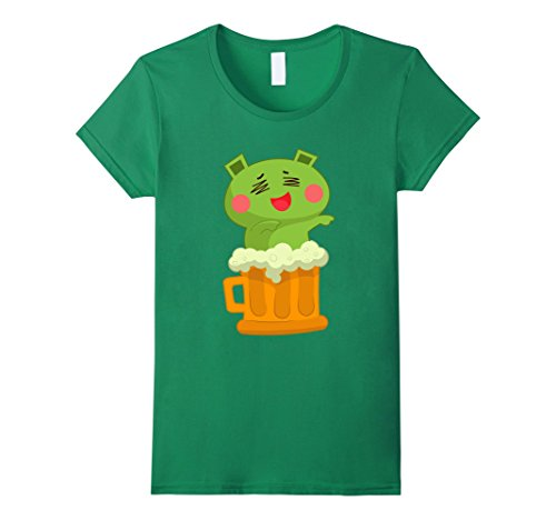 Womens Beer T-Shirt - Humorous Novelty Funny Graphic Beers T-Shirts Large Kelly Green (Spirit Halloween Beer Pong)