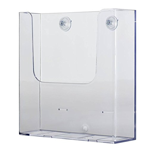 Source One Glass Mount Full Size 8-1/2 Inches Wide Brochure Holder with Suction Cups (S1-sucfull)