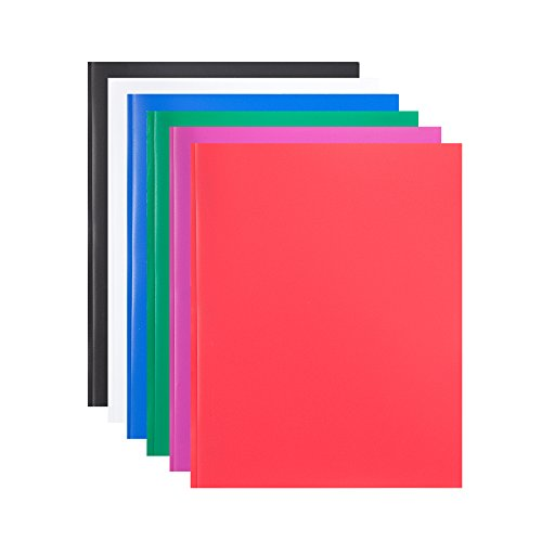 COMIX 2 Pocket Letter Size Poly File Portfolio Folder with Three-Prong Fastners - Assorted Colors - 6 Pack (A2139)