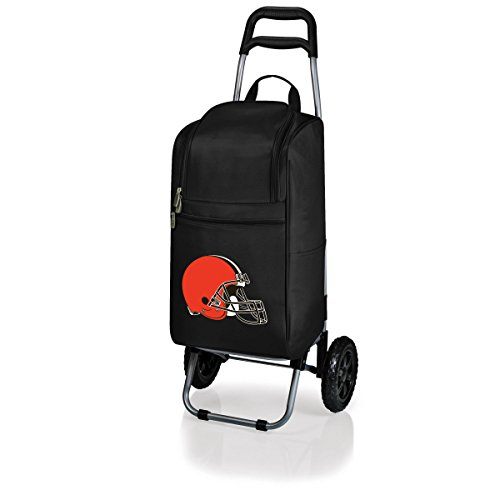 NFL Cleveland Browns Insulated Cart Cooler with Wheeled Trolley, Black