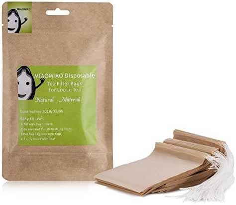 MIAOMIAO unbleached tea filter bags, 【safe and natural material, better leading,100 count】 disposable tea infuser, 1-cup capacity, drawstring empty bag for loose leaf tea (2.4in3.2in)