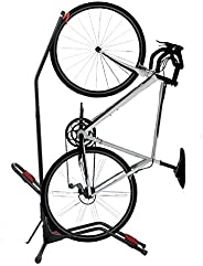 Houseables Bike Rack Wall, Bikes Stand Floor, 121.66 cm x 63.5 cm, 1 Pk, Black, Red, Fits 6.09 cm W, Stainless