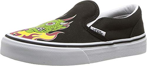 Vans Kids Boy's Classic Slip-On (Little Kid/Big Kid) (Demon Trolls) Black/True White 7 M US Big Kid -