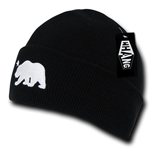 WHANG Cali Bear Long Knitted Designed Fit Snugly Beanie_Black_One Size Designed Beanie