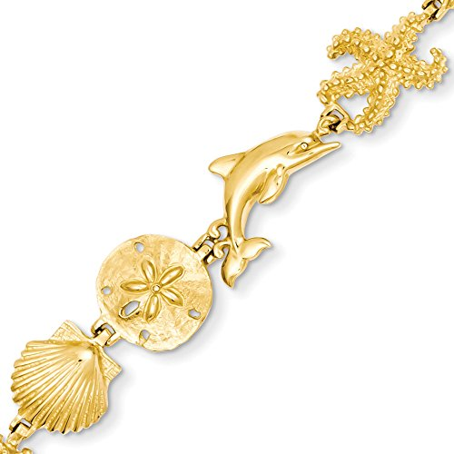 14k Gold Starfish Seashell Sand Dollar & Dolphin Beach Theme Bracelet with Lobster Clasp (11.9mm) - Yellow-Gold, 7.25 in (Gold Seashell Bracelet)