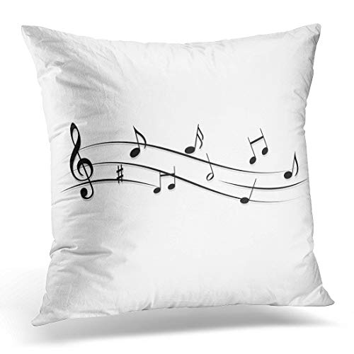 Emvency Throw Pillow Cover Band Black Song Clef Music Notes Notation Beethoven Clock Decorative Pillow Case Home Decor Square 18 x 18 Pillowcase