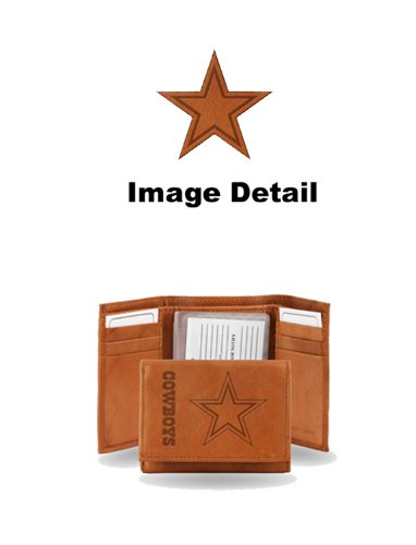 Dallas Cowboys NFL Team Logo Tri Fold High Quality Brown Leather Wallet - Embossed Design