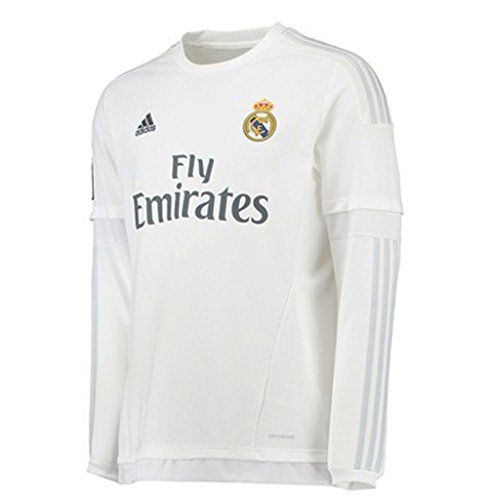 Authentic Mens Home Adidas Jersey - Adidas Men's Soccer Real Madrid Home Jersey Long Sleeve(M)