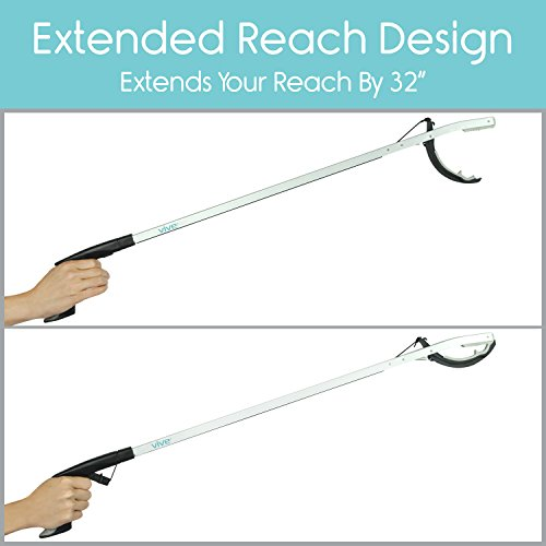 Vive Claw Reacher Grabber - 32'' Extra Long - Extension Living Aid - Heavy Duty Sock Assist Tool, Fishing, Trash Garbage Picker, Garden Nabber- Compact Aluminum Elderly Pick Up Arm - Padded Grip by VIVE (Image #2)